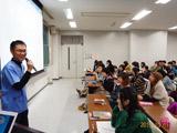 麻布大学食品科学研究室の新教員、竹田志郎氏の着任初日、授業で紹介